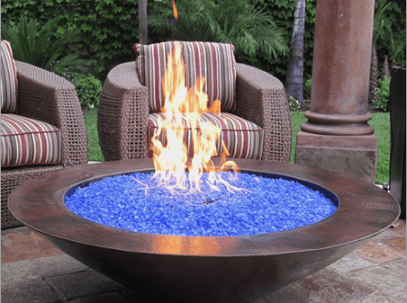 how much fire pit glass